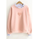 New Fashion Ruffle Hem Embellished Round Neck Long Sleeve Pullover Sweatshirt