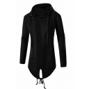 Simple Plain High Low Hem Tie Back Zipper Cuff Drawstring Open Front Tunic Coat