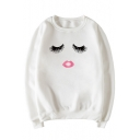 New Fashion Red Lip Print Round Neck Long Sleeve Pullover Sweatshirt
