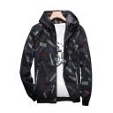 New Stylish Print Drawstring Hood Long Sleeve Zip Up Leisure Jacket