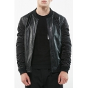 New Stylish Faux Leather Stand-Up Collar Long Sleeve Zip Up Jacket
