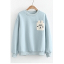 New Stylish Cartoon Cat Pattern Round Neck Long Sleeve Loose Pullover Sweatshirt