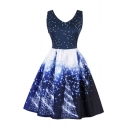 New Christmas Tree Snow Printed V-neck Pleated Fit & Flare Dress