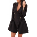 New Fashion Simple Plain V-Neck Notch Lapel Long Sleeve A-Line Mini Dress
