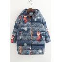 New Fashion Lovely Fox Print Zip Up Long Sleeve Hooded Padded Coat