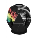 New Fashion Graphic Print Round Neck Long Sleeve Pullover Sweatshirt