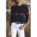 New Stylish Striped Print Round Neck Long Sleeve Pullover Sweatshirt