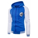 New Stylish Color Block Print Drawstring Hood Raglan Sleeve Jacket