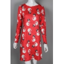 New Stylish Snowman Christmas Print Round Neck Long Sleeve Dress