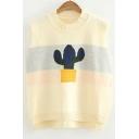 New Fashion Cactus Pattern Striped Vest Sweater