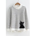 New Fashion Cat Pattern Striped Long Sleeve Pullover Sweater