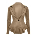 Chic Simple Notch Lapel Rivet Embellished Long Sleeve Blazer