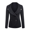 New Fashion Simple Plain Notch Lapel Long Sleeve Slim Blazer