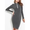 New Stylish Stand-Up Collar Long Sleeve Simple Plain Zipper Dress