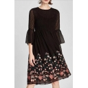 Fashion Floral Print Sheer Long Sleeve Round Neck A-line Dress