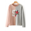 Chic Rose Embroidered Color Block Round Neck Long Sleeve Pullover Sweatshirt