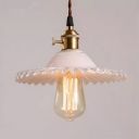Industrial Pendant Light with 8.66''W Scalloped Shade, White