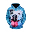 Oil-Painting Bull Terrier Dog Printed Long Sleeve Pullover Hoodie