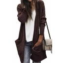 Casual Open-Front Long Sleeves Plain Knitted Longline Cardigan