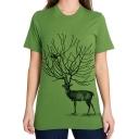New Stylish Deer Print Short Sleeve Round Neck Tee