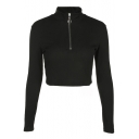 Simple Plain Long Sleeve Turtleneck Cropped Pullover Sweatshirt