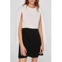 Chic Color Block Round Neck Split Side Long Sleeve A-Line Mini Dress