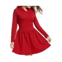 Simple Long Sleeves Flared Mini Hooded Dress