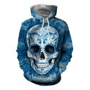 Trendy Skull Pattern Long Sleeves Pullover Hoodie with Pocket