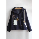 New Fashion Floral Embroidered Long Sleeve Buttons Down Hooded Coat