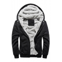 New Stylish Long Sleeve Zipper Simple Plain Unisex Hooded Coat