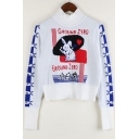 New Fashion Cartoon Rabbit Pattern Turtleneck Long Sleeve Cropped Pullover Sweater