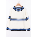 New Fashion Color Block Striped Round Neck Long Sleeve Pullover Sweater