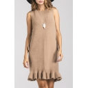 New Fashion Chic Ruffle Hem Round Neck Sleeveless Sweater Mini Dress