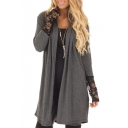 Chic Simple Lace Panel Cuff Open Front Long Sleeve Coat