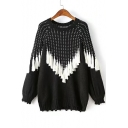 New Fahsion Striped Tassel Embellished Round Neck Long Sleeve Pullover Sweater
