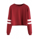 Leisure Round Neck Contrast Ribbed Long Sleeve Cropped Pullover Sweatshirt