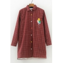New Fashion Balloon Embroidered Lapel Long Sleeve Buttons Down Plaid Shirt