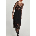 Sexy Sheer Round Neck Long Sleeve Floral Embroidered A-line Dress