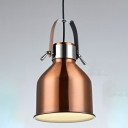 Industrial Pendant Light with 7.09''W Metal Shade in Copper Finish