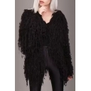 New Stylish Faux Fur Long Sleeve Open Front Tassel Embellished Plain Coat