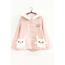 Lovely Deer Patchwork Long Sleeve Hooded Woolen Coat