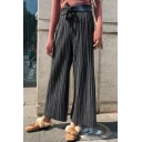 New Stylish Bow Tie Elastic Waist Plain Pleated Wide Leg Pants