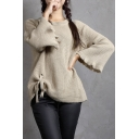 Simple Plain Ruffle Hem Long Sleeve Pullover Loose Sweater