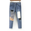 New Stylish Color Block Faux Fur Zip Fly Jeans