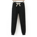 Fashion Drawstring Elastic Waist Simple Plain Harem Pants