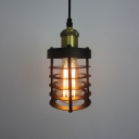 Industrial Mini Pendant Light with 3.94''W Cylinder Metal Cage, Black