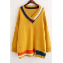 Fashionable V-Neck Contrast Trim Double-Knit Dropped Shoulder Long Sleeve Sweater