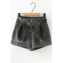 New Stylish Rhombus Detail Plain Zip Fly Shorts