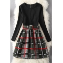 Chic Color Block Plaid Long Sleeve A-Line Mini Dress