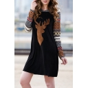 Fashion Color Block Elk Print Long Sleeve Mini Hooded Dress